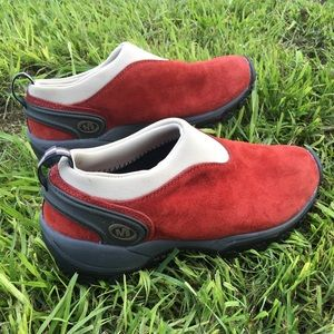 Merrell Satellite Moc Red Brick Suede Shoes Hiking